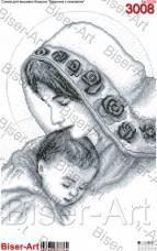 Схема вышивки бисером на габардине Мадонна з немовлям Biser-Art 40х60-3008