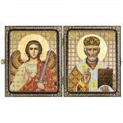 Набор для вышивки иконы в рамке-складне Николай Чудотворец и Ангел Хранитель