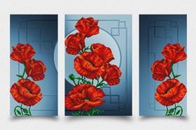 Схема для вышивки бисером на атласе Маковая фантазия (Триптих), , 399.00грн., АР2-004, А-строчка, Картины из нескольких частей