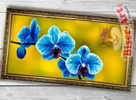 Схема вышивки бисером на габардине Панно Блакитна орхідея