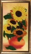 Рисунок на атласе для вышивки бисером Подсолнухи