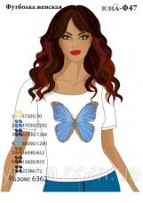 Женская футболка для вышивки бисером Бабочка