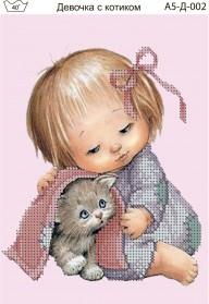 Схема для вышивки бисером на габардине Девочка с котиком Acorns А5-Д-002 - 30.00грн.