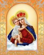 Схема для вышивки бисером на атласе Богородица с младенцем