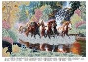 Схема вышивки бисером на атласе Кони