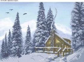 Схема для вышивки бисером на габардине Домик в горах