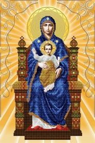 Схема вышивки бисером на атласе Богородица на престоле