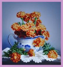 Набор для вышивки бисером Бархатцы на столе Картины бисером Р-268