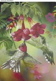 Схема для вышивки бисером на габардине Колибри, , 70.00грн., А3-К-323, Acorns, Коты, бабочки, волки и птицы