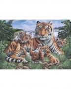 Схема вишивкі бісером на габардині Сімейство тигрячих