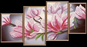 Схемы для вышивки бисером на атласе Магнолия (4 части), , 128.00грн., В46510, Новая Слобода (Нова слобода), Картины из нескольких частей