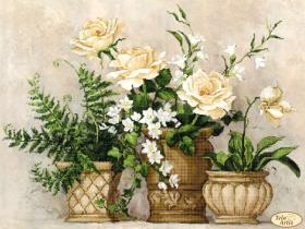 Схема для вышивки бисером на атласе Цветочный натюрморт, , 145.00грн., ТК-069, Tela Artis (Тэла Артис), Большие схемы вышивки бисером