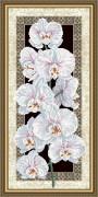 Схема для вышивки бисером на габардине Орхидея на чёрном