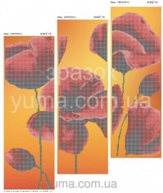 Схема вышивки бисером на атласе Маки (Триптих), , 180.00грн., ЮМА-Т-8, Юма, Картины из нескольких частей