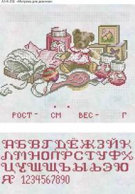 Схема для вышивки бисером на габардине Метрика для девочка (рус) Акорнс А3-К-356 - 70.00грн.