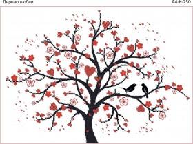 Схема для вышивки бисером на габардине Дерево любви Acorns А4-К-250 - 45.00грн.