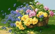 Схема для вышивки бисером на атласе Розы и васильки