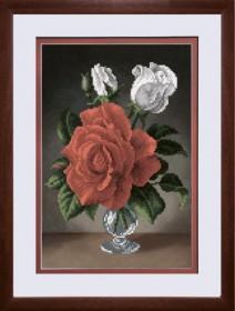 Схема вышивки бисером на авторской канве Розы в вазе