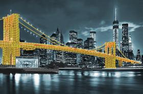 Схема для вышивки бисером на атласе Бруклинский мост (жёлтый)