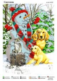 Схема для вышивания бисером на атласе Снеговик, , 40.00грн., ЮМА-4432, Юма, Новый год