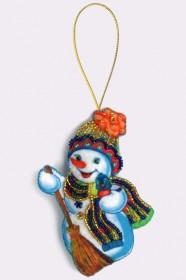 Набор для изготовления игрушки из фетра для вышивки бисером Снеговик, , 48.00грн., F010, Баттерфляй (Butterfly), Наборы для шитья кукол