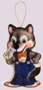 Набор для изготовления игрушки из фетра для вышивки бисером Волчонок