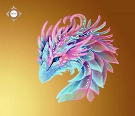 Пошитый клатч для вышивки бисером Лиловый дракончик Миледи КС-017 - 550.00грн.