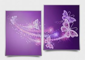 Схема для вышивки бисером на атласе Ажурные бабочки (фиолетовый) диптих, , 182.00грн., АРЗ-010, А-строчка, Картины из нескольких частей