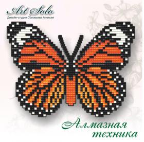 Набор-магнит для выкладки алмазной мозаикой Полосатый тигр (Danaus genutia)