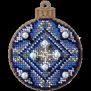 Набор для вышивания по дереву Елочная игрушка Синий шар с бусами