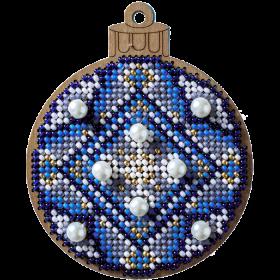 Набор для вышивания по дереву Елочная игрушка Синий шар с бусами Волшебная страна FLK-311 - 119.00грн.