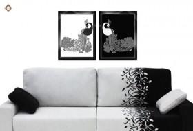 Схема для вышивки бисером на атласе Царские павлины Диптих, , 180.00грн., СЛТ-2211, Миледи, Картины из нескольких частей