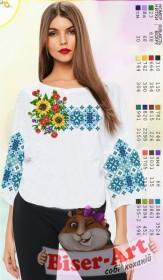 Заготовка вышиванки Женской сорочки на белом габардине Biser-Art SZ05 - 320.00грн.