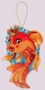 Набор для изготовления игрушки из фетра для вышивки бисером Золотая рыбка
