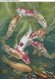Схема для вышивки бисером на габардине Девять карпов Кои, , 70.00грн., А3-К-324, Acorns, Коты, бабочки, волки и птицы