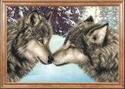 Схема для вышивки бисером на габардине Пара волков