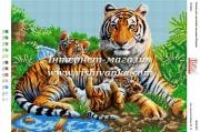 Схема для вышивки бисером на габардине Тигры