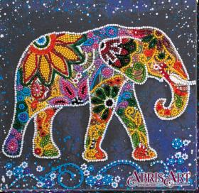 Набор-миди для вышивки бисером на натуральном художественном холсте Индийский слон