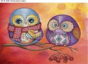 Схема для вышивки бисером на габардине Осенние совы