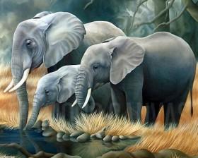 Набор для выкладки алмазной мозаикой Семья слонов