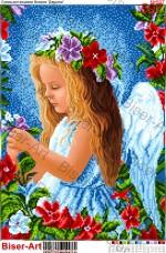 Схема вышивки бисером на габардине Квітковий ангел Biser-Art 30х40-597