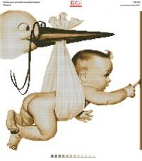 Схема для вышивки бисером на габардине Лелека Вишиванка КВ-023