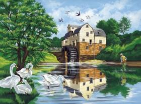 Набор для выкладки алмазной мозаикой Лебеди у реки Алмазная мозаика DM-336 - 640.00грн.