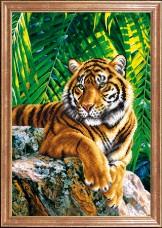 Схема вышивки бисером на габардине Тигр отец Магия канвы КС-087 МК