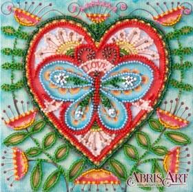 Набор-мини для вышивки бисером на натуральном художественном холсте Летнее сердечко Абрис Арт AM-204 - 107.00грн.