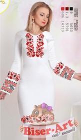 Заготовка женского платья на БЕЛОМ ЛЬНЕ Biser-Art Bis6054 белый лен - 504.00грн.