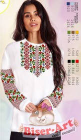 Заготовка женской сорочки на белом габардине Biser-Art SZ71 - 320.00грн.