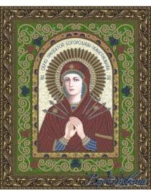 Схема для вышивки бисером на атласе Икона Образ Пресвятой Богородицы Семистрельная