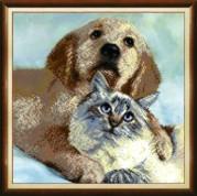 Схемы для вышивания бисером на авторской канве Кошка с собакой