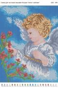 Рисунок на габардине для вышивки бисером Ангел з квітами